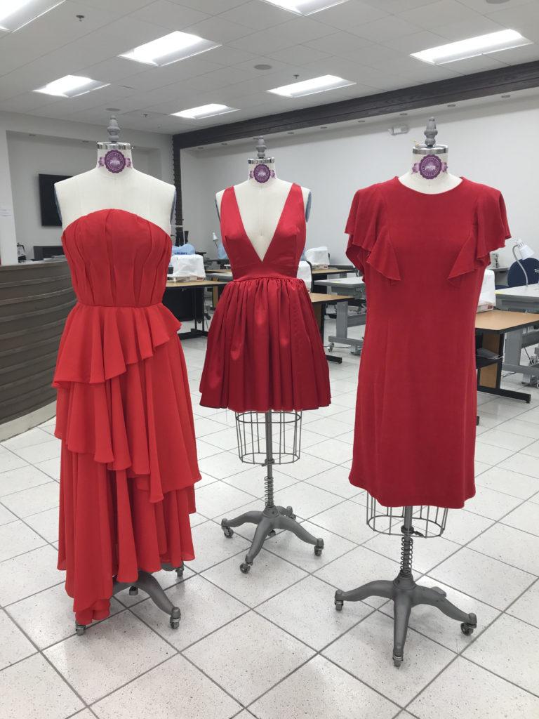 Three red dresses